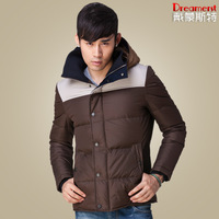 Autumn and winter down coat male slim detachable cap thickening outerwear down coat