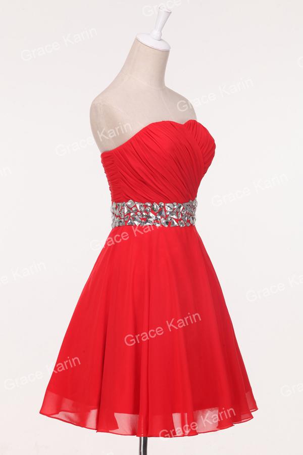 Grace karin 2015 elegant short blue red wedding dress chiffon