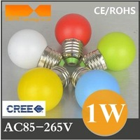 Free Shipping Colorful Led Bulb 1W Led Bulb E27 Holiday Bulb AC85~265V White/Warm white/Yellow/Blue/Red/Green E27