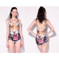 Free shipping Siamese tight stretch tiger pattern design tank top Tigers vest bodysuits swim suits tiget jumpsuit