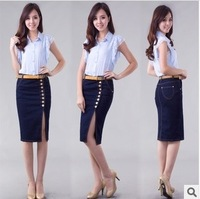 S-XXXXL Women's denim skirt Open fork slim hip plus size elastic long skirt free shipping xc-1114