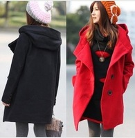 New Girls' Wide-waisted Hooded Wool Coat Thick fashion Single Breasted Long Outwear Solid Cotton Long Sleeve Red Black Khaki
