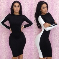 2013 Sexy Ladies long-sleeved black and white halter dress pencil dress stitching even buy wholesale trade nightclub women