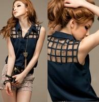 2014 Free Shipping Latest Hot Summer Chiffon Sleeveless Slim Shirt Fashionable Casual Women Blouse Shirts VestsTops LSP4633LBR