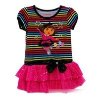Dora Patterns Princess Dress Children Cartoon Stripe Sequins Summer Tutu Party Dresses Start Bow For Girls A95