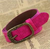 Hot Sale fashion leather belt Ms plum flower embossed leather belt Contracted joker Pin buckle belts