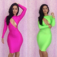 Hollow fashion sexy halter dress long sleeve dreess two color optional trade dress nightclub women