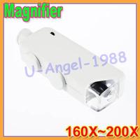 5pcs/lot Mini Pocket Handheld Microscope Magnifier Loupe 160X~200X Zoom Lens LED Lighted+Free shipping