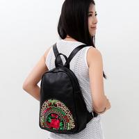 Vintage preppy style female genuine leather embroidered cowhide satanisms school bag