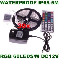 Wholesale! 5M rgb LED Strip Light 3528 SMD 300 LEDs DC12V Waterproof LED Strips 120 Degress+44keys+12V 2A Adapter Free Shipping