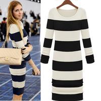 Autumn And Winter O-Neck Stripe Color Block Knitting Sweater Dress Women.2014  Long-Sleeve Dress Free Shipping