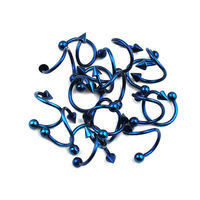 SR14 10 pcs 18G Stainless Steel body jewelry Blue Tragus Rook 8MM Twisted Spiral Barbell Nose Lip Rings