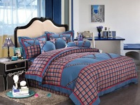 2013 bedding british style fashion 100% cotton plaid piece set 100% cotton brief fashion bedding
