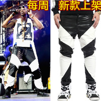 New arrival ! free shipping Men's fashion ds PU pants gd punk motorcycle black and white long leather pants / 30-40