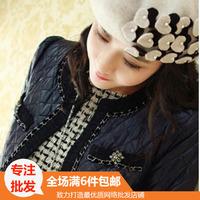 Hat autumn and winter wool woolen beret female dome women's flat brim grey pearl paragraph black