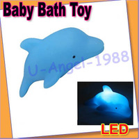 Free shipping!! 5pcs/lot Baby Child Kids Kid Bath Toy LED Flashing Dolphin Light Bulb Colorful Decor Lamp