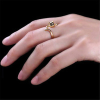 10pcs/lot Fashion Cute Kitten Cat Adjustable Crystal Alloy Finger Ring Gold/Sliver/Black+Free shipping