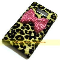 1 Pcs Cute sweet Crystal Bling Bow leopard case cover for LG Optimus L7 P705