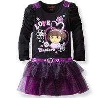 dora girls dress long-sleeve black princess dress  7PCS/LOT SIZE  2  2  2  3 4 5 6 T