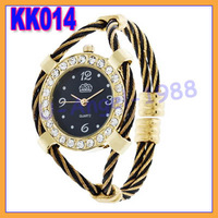 5pcs/lot Classic Colorful Golden Quartz Wrist Watch Bracelet Steel Casual Women Lady MEN +Free shipping