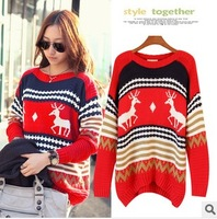 Women Sweaters Fashion women winter dress casual Pattern Reindeer Pullovers Chunky Loose Knitted Oversized Sweaters For Women