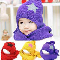 1Piece100%Cotton Hot Selling baby cap children hat+scarf two piece set Toddler Boys & Girls Hats+Free shipping