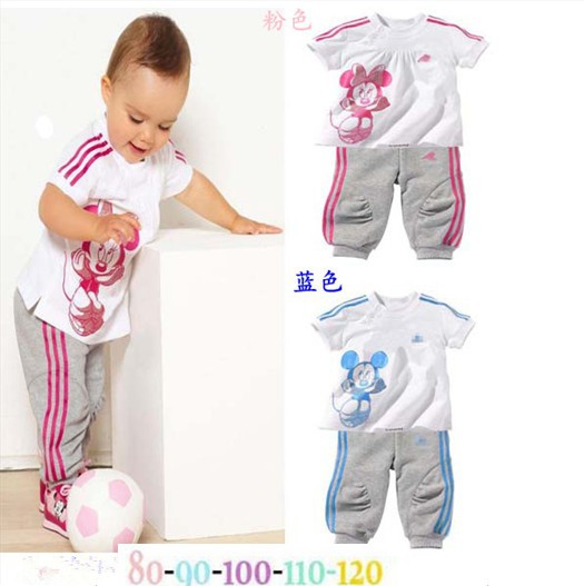 boys / girls short-sleeved Mickey / Minnie t-shirt + pants sets two-piece fashion Children summer suit 5set/lot free shipping(China (Mainland))
