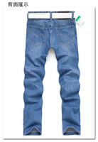 2014 New Fashion Men's Light Blue Jeans Wholesale New Design Straight Light Blue Pants For Male + Free Shipping