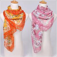Retail! 2013 Newest style fashion flowers printed lady's silk like chiffon georgette scarf/shawl! JZ008