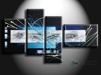 Hand painted Oil painting set abstract large painting home decoration framed canvas painting 5pc painting for living room