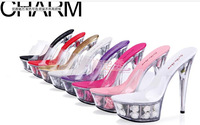 free shipping 2014 summer Sexy female15cm high-heeled shoes, women crystal flower platform sandals wedding shoes