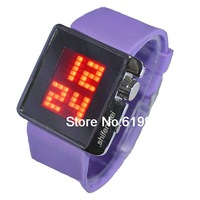 NEW LED Digital Watch With Rubber Watchband Red Light (Purple)