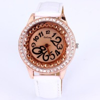 Dropship 5 colors Gogoey crystal watch fashion women rhinestone with diamonds rose gold printed pu leather big brand watch