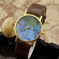 World Map Pattern vintage watch travel fashion lovers Men Women Wristwatch Clock Hours honey gift