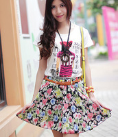 Fashion Brand  Pleated Floral Chiffon Women Ladies Cute Mini Skirt  Free Shipping
