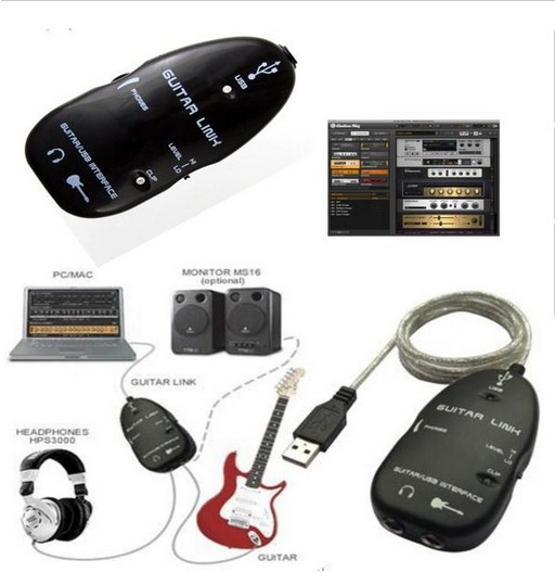 USB GUITAR TO PC INTERFACE CABLE LINK AUDIO ELECTRIC ACOUSTIC PRE AMP AMPLIFIER+LOWEST PRICES+Freeshipping(China (Mainland))