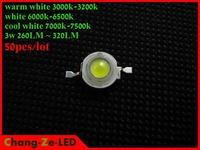50PCS/Lot High brightness cool/warm/white 3w led lamp bead, 45MIL 260LM-320LM 700MA bridgelux chip,  for Spot/bulb/flood light