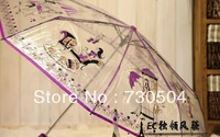 Free Shipping+Tracking Number 1PC Cartoon Children Umbrella Clear Bubble  Safe Rain Umbrella Birthday Gift for Kids