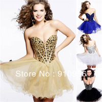 2014 Best Selling New Sexy Beaded Crystal Champagne/White/Black/Blue Mini Short Cocktail Dresses Formal Evening Party Prom Gown