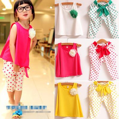 Sale Girls Set shirt+pants 2pcs set d 2013 new children's clothing summer set child flower female vest polka dot harem pants(China (Mainland))
