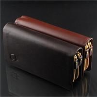 Genuine leather men long style wallets brand designer fashion men purse leather bags credit card clutch pocket