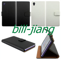 Free mini stylus SCREEN PROTECTOR Genuine Wallet Stand Flip leather Leather pouch Case for Sony Xperia Z1 L39h