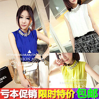 2013 women's summer rhinestone flower sleeveless chiffon shirt vest top basic shirt