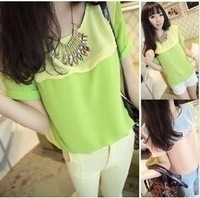 Women's summer clothes scalloped small fresh short-sleeve chiffon shirt
