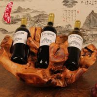 Wood carving wine rack fashion vintage wine holder decoration