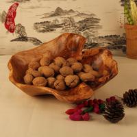 Fashion wood carving compotier wooden fruit plate bowl for home decoration fruit basket