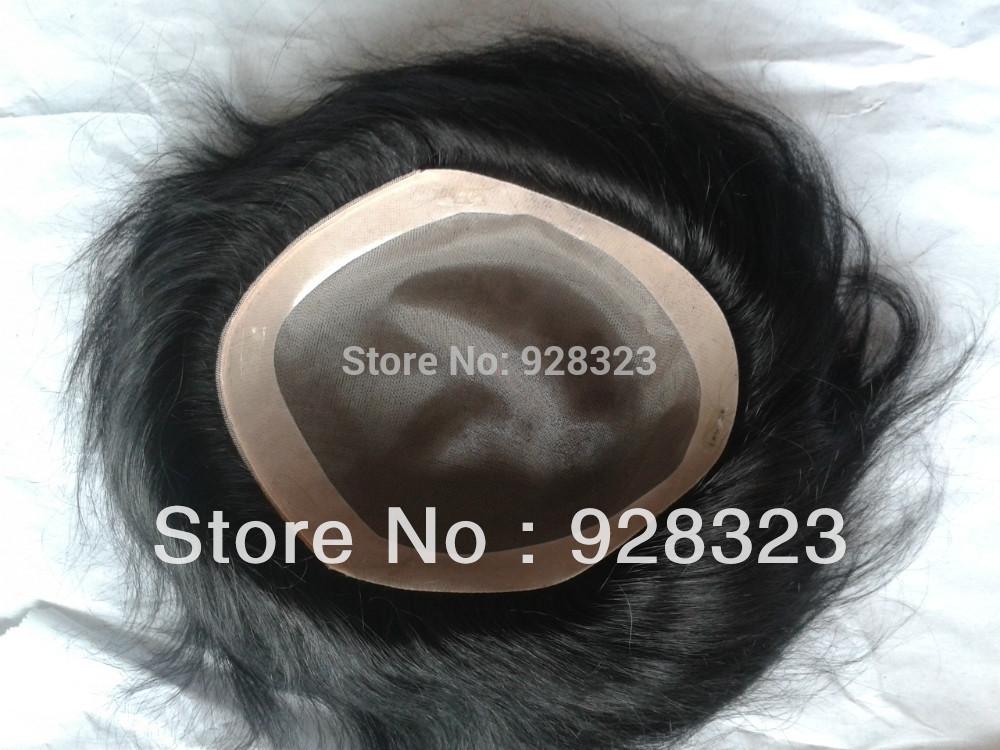 Fast Free Shipping 8x6Men s Toupee 6 inch hair slight wave stock Men toupee Colour 1
