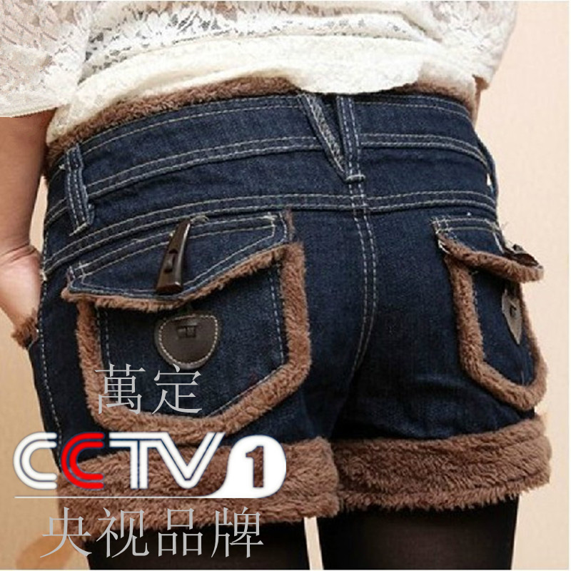 Autumn and winter berber fleece denim shorts tristram side of the horn button boot cut jeans PU female(China (Mainland))