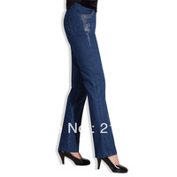 Free shipping Women's autumn thick high waist Dark Blue plus size elastic loose straight denim trousers female 29-38