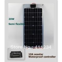 Sea star solar controller 10A +20W portable semi-flexible solar panel system for yacht boat RV
